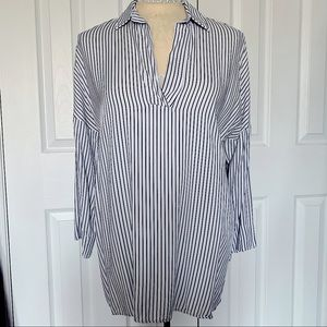 Striped 3/4 Sleeve Collared Shirt